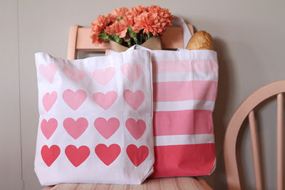 "How cute are these painted totes from ""For the Love of?"" Click for tutorial."