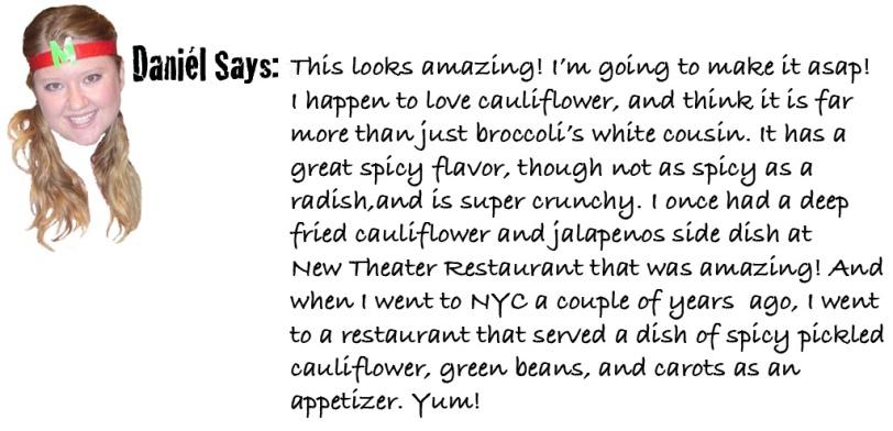 Daniel says curried cauliflower