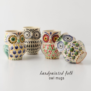 I'm not into owls, but how cute are these mugs from Anthropologie?