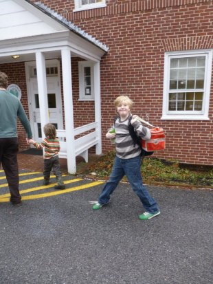 Here we are, approaching school on Max's first day.
