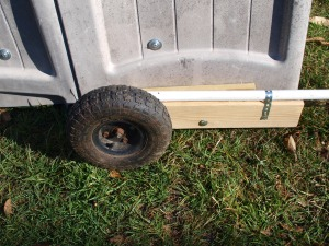 "Wheel in ""down"" position - no critters crawling under this!"