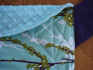 I love this beautiful blue fabric with the soft minky on the inside. Swoon.